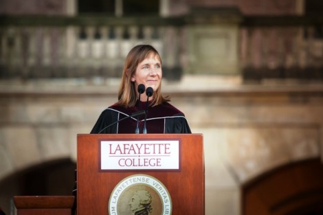 President Alison Byerly presents her inaugural address.