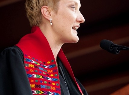 Alexandra Hendrickson, chaplain of the College and director of religious and spiritual life, delivers the benediction.