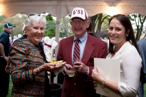 Students, alumni, and faculty enjoy themselves at the President's Reception following the convocation ceremony on the Quad.