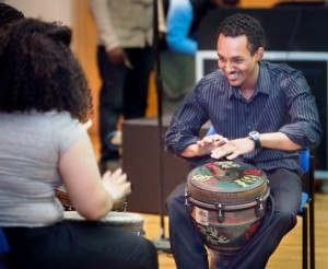 Abenezer Solomon '14 performs with other members of the Percussion Ensemble during last year's Black Heritage Month finale.