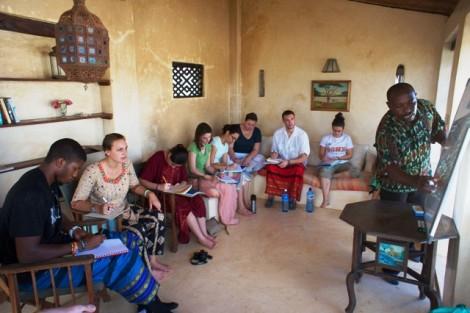 Students learn Kiswahili from language coordinator Gitau Kariuki during an interim course in Kenya.