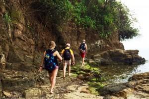 Courtney Landolfe '14, Max Dixon '16, and Corey McKenna '16 at West End Roatan in Honduras