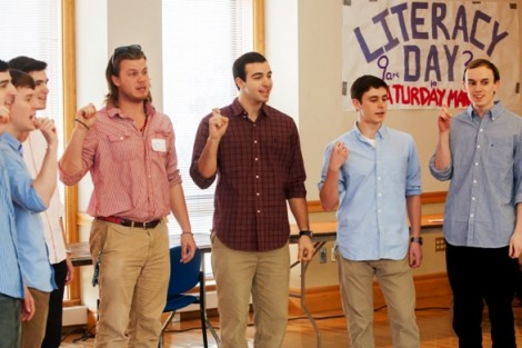 Members of The Chorduroys a cappella group entertain the kids.