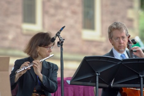 David Moulton, instructor of music, performs on cello, and Christine Moulton performs on flute.