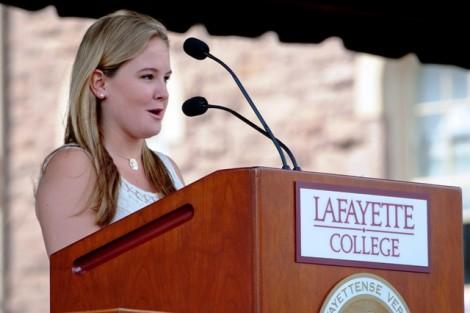Elizabeth Anderson '14 presents her piece 'Our Lafayette.'