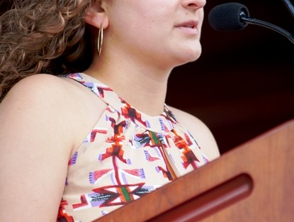 Rose Bayer '14 reads 'A Letter to Marquis de Lafayette.'