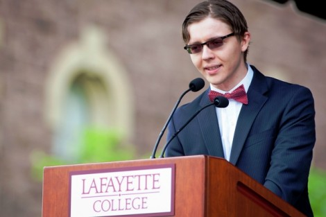 Peter Berexa '14 presents his piece 'A Speech on Faith Never Delivered.'