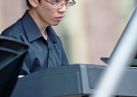 Kok Thong Wong '14 plays keyboard for 'Pie Jesu' by Andrew Lloyd Webber.