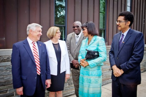 Edward Ahart '69, chair of the Board of Trustees, his wife, Kathy, and Gladstone Hutchinson, associate professor of economics, meet with Jamaican Prime Minister Portia Simpson Miller and Stephen Vasciannie, Jamaican ambassador to the U.S.