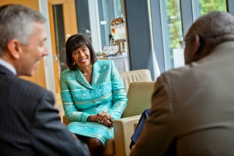 Portia Simpson Miller, prime minister of Jamaica, speaks with trustees and faculty members in Skillman Library, including trustee chair Edward Ahart '69 and Gladstone Hutchinson, associate professor of economics