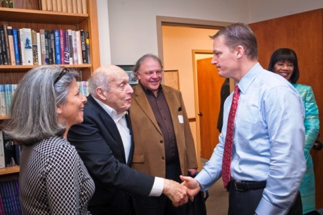 Honorary degree recipients Harry Ettlinger, left, and Kevin Mandia '92 greet each other in Markle Hall.