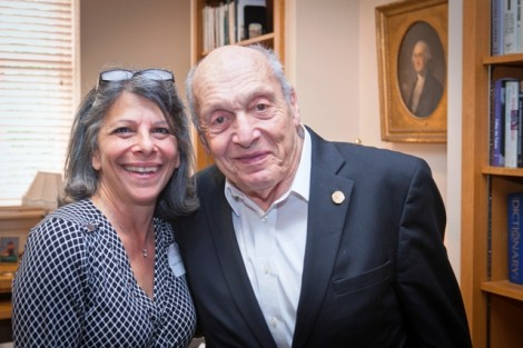 Leslie Muhlfelder, vice president of human resources and general counsel, with honorary degree recipient Harry Ettlinger