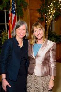 Provost Wendy Hill and President Alison Byerly pose together at the annual pre- Commencement awards ceremony.