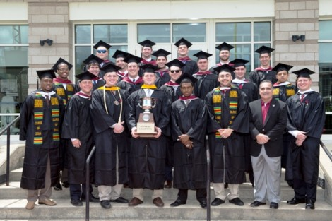 The seniors of the 2013 Patriot League Championship football team have their picture taken one last time before graduation.