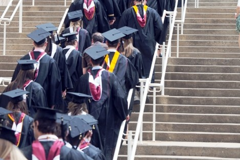 Students line up for the academic procession outside Kirby Sports Center.