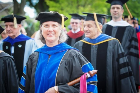 Provost Wendy Hill marched at the head of the faculty.