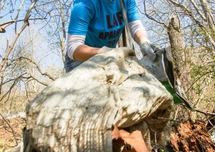 Tori Binz '17 gets rid of garbage along the Karl Stirner Arts Trail.
