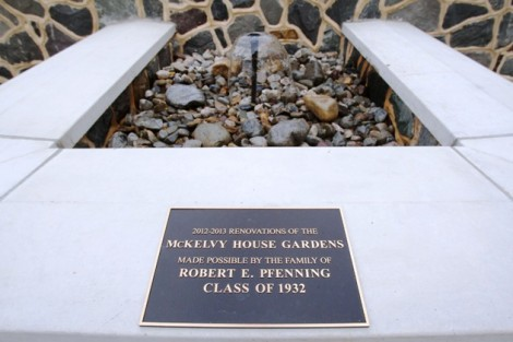 The commemorative plaque and water feature