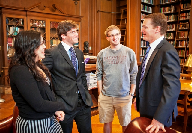 Kelly Sposato '14 (L-R), producer; Reed Shapiro '14, interviewer; and Ed O'Brien '16, cameraman, met with Kevin Mandia '92. They are members of the Lafayette Lens production team.