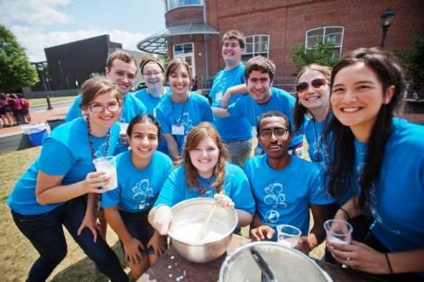 Camp councilors enjoy some ice cream.