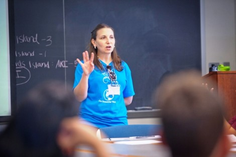 Jen Rao, instructional technologist, teaches campers about chemical reactions.