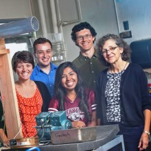 Hailey Votta '15, Brian Skalla '16, Erika Hernandez '17, Professor Michael McGuire, and Professor Laurie Caslake work with the dust measuring apparatus in Acopian Engineering Center.