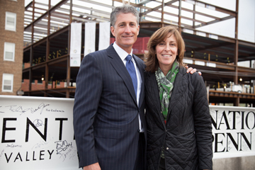 J.B. and Kathleen Reilly at the steel beam signing ceremony of Two City Center. Photo by Peter Gourniak.
