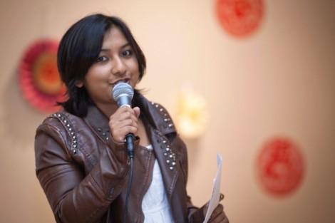 Host Monika Niroula '17 starts off the evening's entertainment.