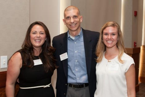 The Julius Naab '19 Award went to the Class of 1960. Joe Samaritano '91, associate director of development, accepts the award on behalf of the class from Meghan Morici '06, director of the annual fund, and Angela Dolson, assistant director.