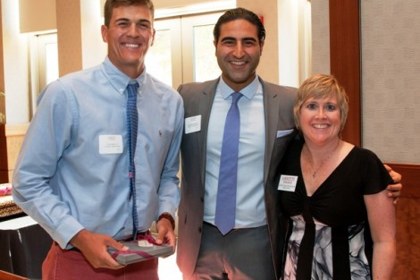 Cory Spera '15, the recipient of the Alumni Association Student Volunteer Award, with Alex Karapetian '04, president of the Alumni Association, and Rachel Nelson Moeller '88, executive director of alumni relations