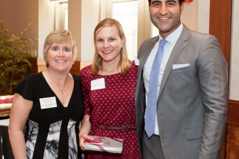 Chapter Support Award recipient Stephanie Stawicki '04 with Rachel Nelson Moeller '88, executive director of alumni relations, and Alex Karapetian '04, president of the Alumni Association