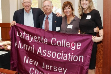 The New Jersey chapter received the Chapter of the Year Award. Representatives Henry Ryder '67, l-r, Bob Young '77, Barbara Strasburg Tucker '81 and Carrie Baker Neigel '02 pose with the chapter flag.
