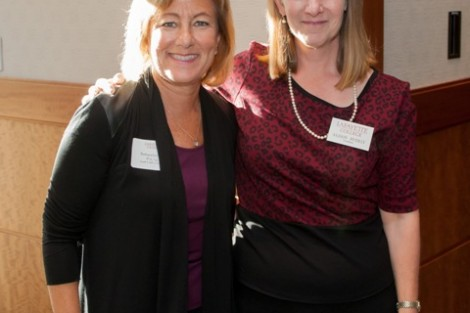 Barbara Levy '77, left, recipient of the Bell Award, with President Alison Byerly