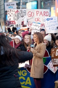 Good Morning America host Ginger Zee speaks with Lafayette students.