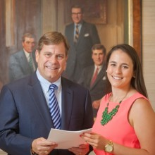 Peter Simon '75 and Abby Williams '15 at the William E. Simon & Sons' office in New Jersey. Her internship last summer was supported by a Class of 2014 stipend.