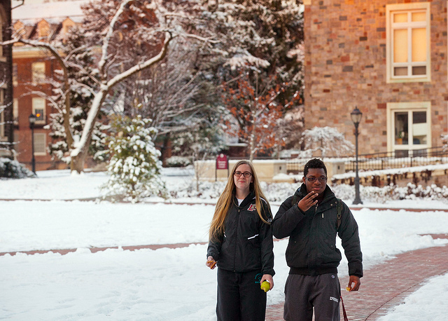 Students brave the cold on the Quad.