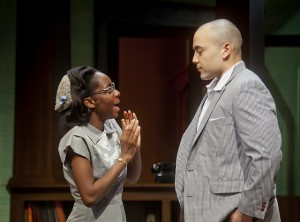 "Chanel Mowatt '17 and Darius Glover '14 in last year's Theater Department production of ""Clybourne Park."""