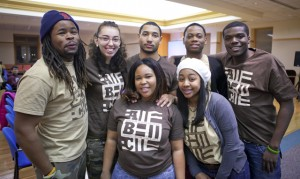 Members of the Association of Black Collegians board Ben Bulluck '16, from left, Jennifer Schroeder '15, Ashley Boyd '15, Dominique Tucker '15, Ariell Christian '17, Aaron Bart-Addison '16, and Hubert Lavie'17 hang out during last year's Black Heritage Month Finale.