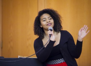 Co-host Valerie Melson '17 speaks during last year's Black Heritage Month finale.