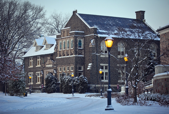 Hogg Hall in the snow