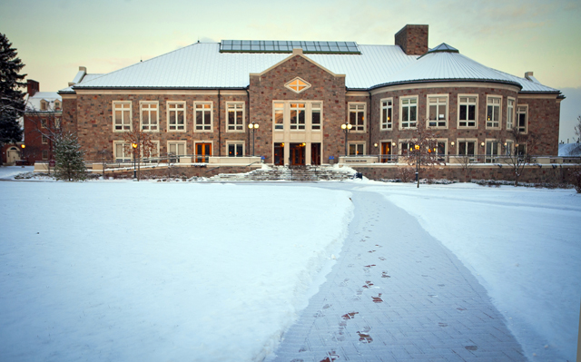 Farinon Center under a fresh layer of snow