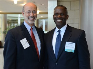Gov.-Elect Tom Wolf (left) with Mike Newsome '75
