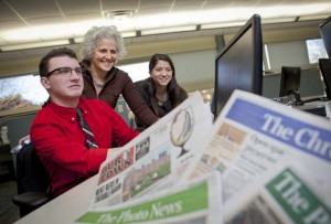 Adam Valavanis '17, Jeanne Straus P'13, and Cassidy Taylor '17 at Straus News in Chester, N.Y.