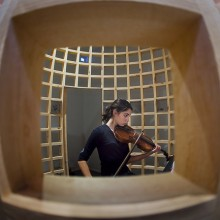 Joanna Harris '17 plays viola while in a giant bird cage. The theater department performed the play