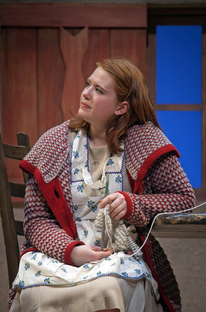 Maggie Frodell '15 listens during a scene in Dancing at Lughnasa