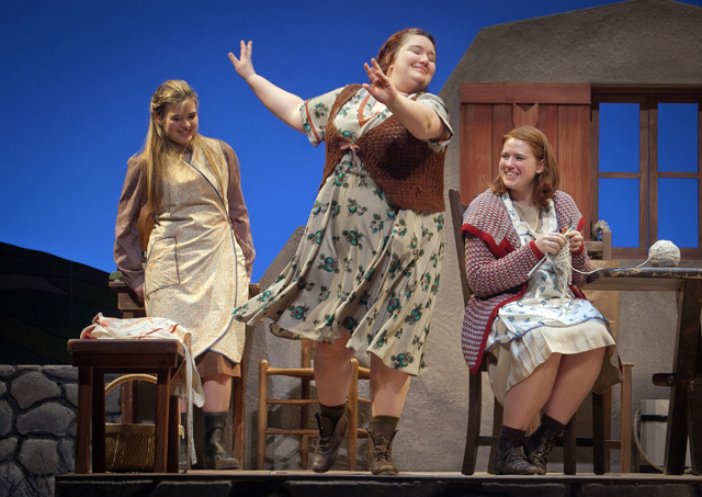Meryl Hahne '18, Nikelia Haines '15, and Maggie Frodell '15 perform a dance scene in Dancing at Lughnasa