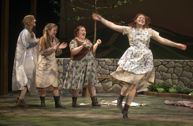 Emma Glubiak '18, Meryl Hahne '18, Nikelia Haines '15, and Maggie Frodell '15 perform a dancing scene in Dancing at Lughnasa