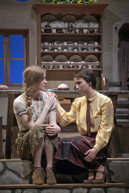 Emma Glubiak '18 and Trudyann Buckley '15 perform in Dancing at Lughnasa