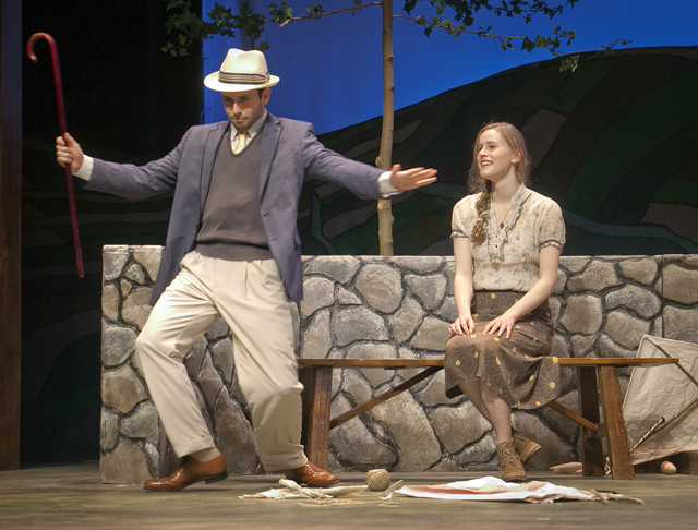 Randy Goldfarb '16 and Emma Glubiak '18 perform in Dancing at Lughnasa
