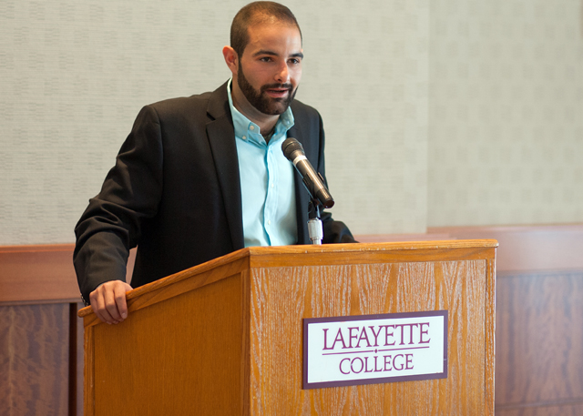 David Kafafian '13 speaks to students.